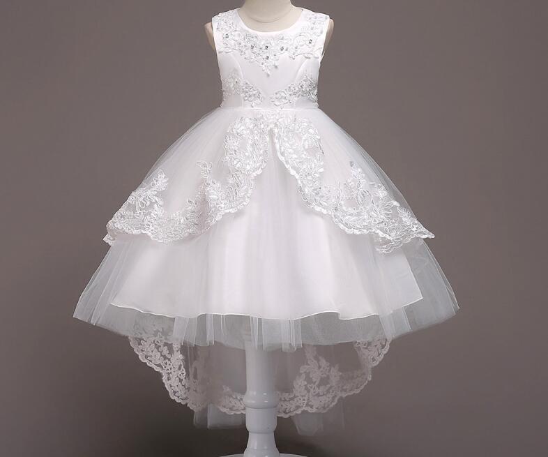 2018 HOT fille robes Tulle robe pour filles broderie robe de bal bébé fleur fille princesse robes de mariage Piano costumes