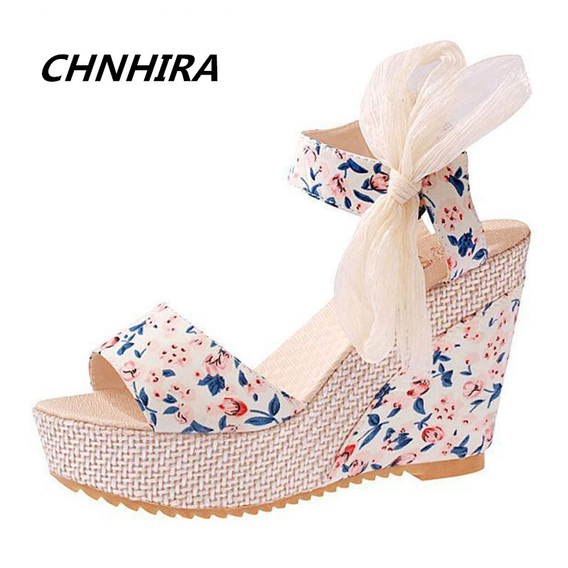 Floral Wedges Sandals Summer Style Platform Gladiator Sandals 2016 Flats Shoes Woman Casual Lace Bowtie High Heels#HR812 gladiator sandals 2017 summer style comfort flats casual creepers platform pu shoes woman casual beach black sandals plus us 8