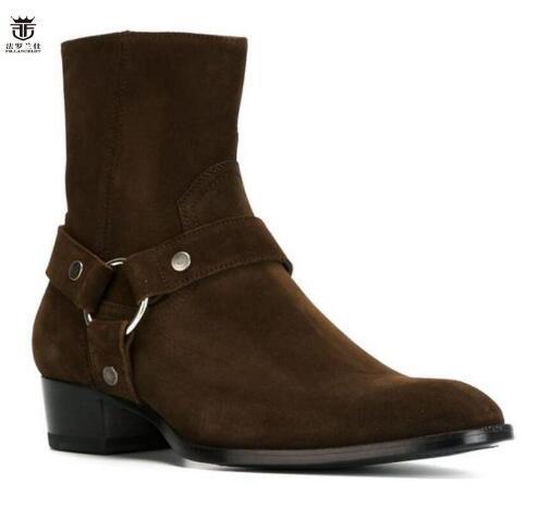 2019 Hot Sales FR LANCELOT Brand Luxury Quality Darker Brown Suede Buckle Strappy Chelsea Boots Men
