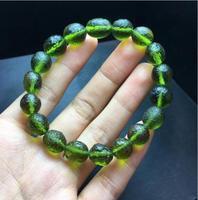 fine jewelry 10mm Green GEM MOLDAVITE Meteorite Impact Glass Bead Bracelet drop shipping