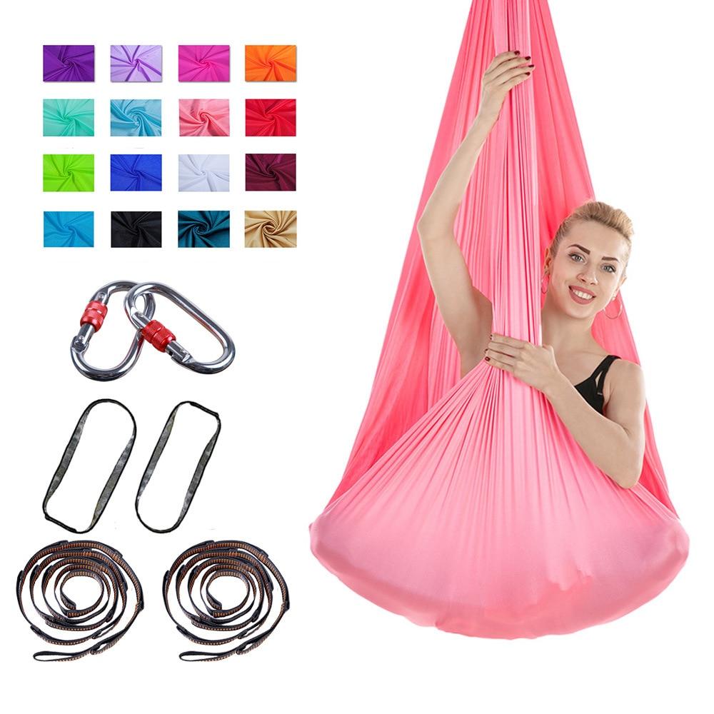 <+>  4   2.8 м Фитнес-йога стрейч-ремни 16 цвет антигравитационная воздушная йога качели строп инверсионн ①