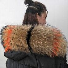 Натуральный енот настоящий женский меховой воротник шарф из натуральной кожи большого размера модные шали с узором шарфы шаль шеи теплый палантин воротник