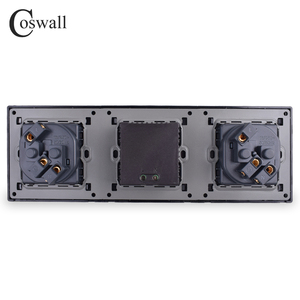 Image 3 - COSWALL Wall Stainless Steel Panel Double Socket 16A EU Electrical Outlet Dual USB Smart Charging Port 5V 2A Output Black Color