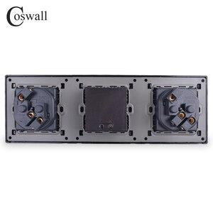 Image 3 - COSWALL panneau mural en acier inoxydable, Double prise 16a ue, sortie électrique, Double Port de recharge intelligent USB, 5V, 2a, couleur noire