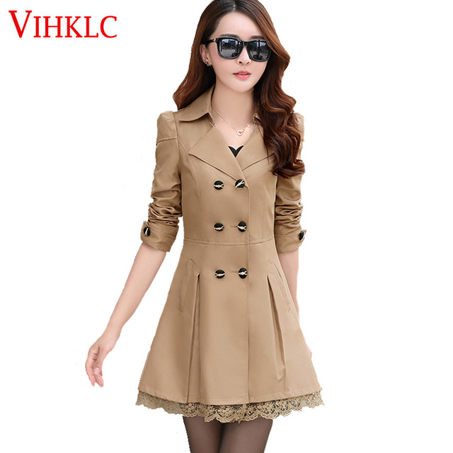 4b2c11fb87a Women Trench Coat 2017 Fashion Plus Size Lace Slim Double-Breasted Trench  Coats Female Casual