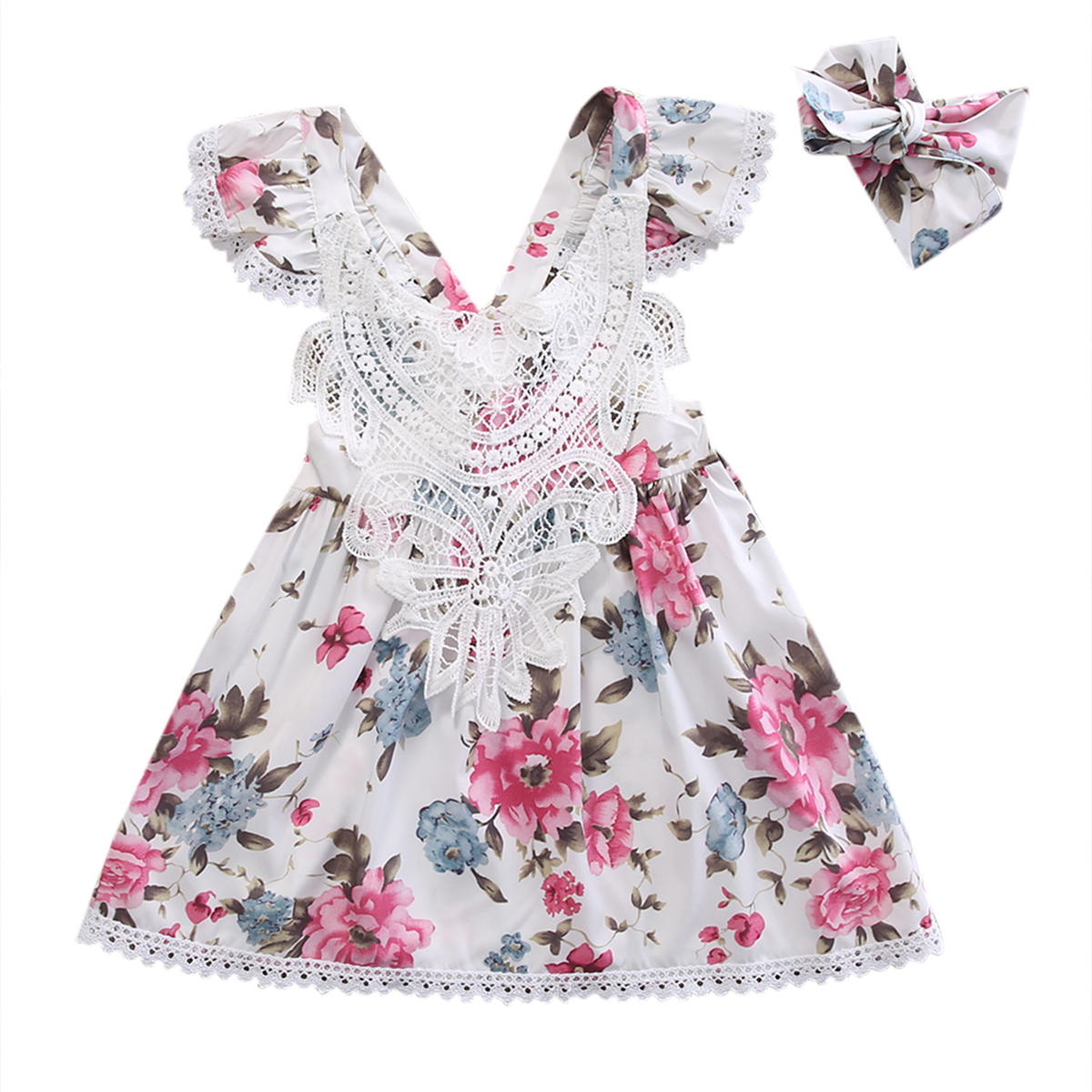 Girls Flower Floral Sleeveless Mini Princess Lace Dresses ...