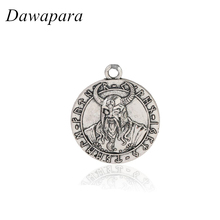 Dawapara Ragnarok Viking Jewelry with Odin's Figure Coin Pendant Necklaces Accessories Metal Tags Charms for Men and Women