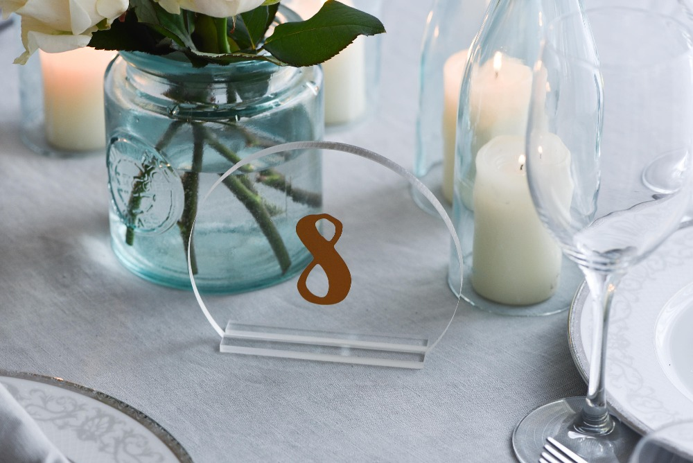 Gold Printing Clear Acrylic Standing Table Numbers Wedding table Numbers Decoration, table Centerpieces, Half Circle shape