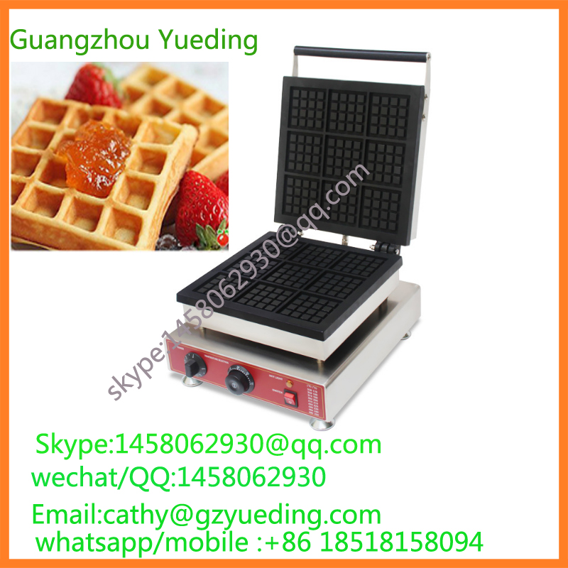 Commercial 9pcs Belgian waffle maker Square Belgian Liege Waffle Maker waffle machine with CE one head rotary belgian waffle maker machine for commercial restaurant machinery wholesale