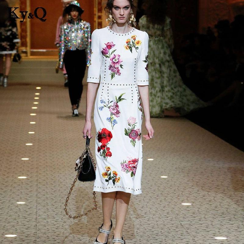 2019 élégant Floral imprimé blanc robe longue femmes été demi manches O cou perles Feamle Vintage fête Midi robe vêtements