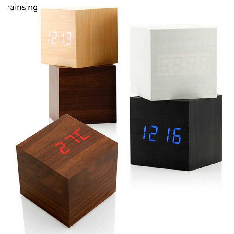 Китайский Стиль звук Управление деревянный деревянном квадратном светодиодный Настольный Будильник Таблица цифровой термометр деревянные usb/часы высокого класса