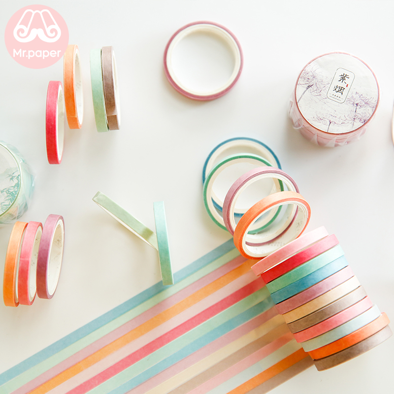 Mr Paper 6pcs/box 5mm*3m Pure Colors Cut-off Rule Line Bullet Journaling Washi Tapes Scrapbooking DIY Decoration Masking Tapes