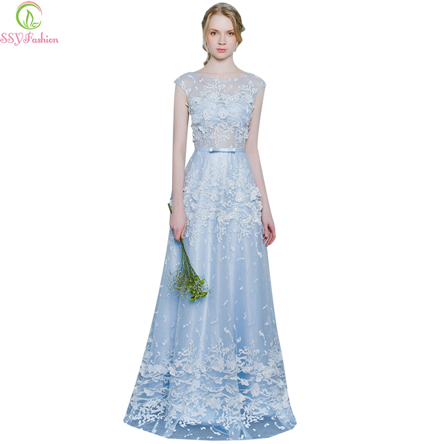 Evening Dress 2017 SSYFashion The Bride Banquet Sweet Light Blue Lace  Flower Sleeveless Long Prom Dress Custom Formal Dresses 36254fa20fd5