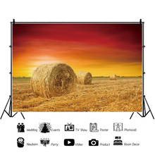 Yeele Sunset Hay Bales Stack Harvest Autumn Rural Farm Scenery Photography Backgrounds Photographic Backdrops For Photo Studio