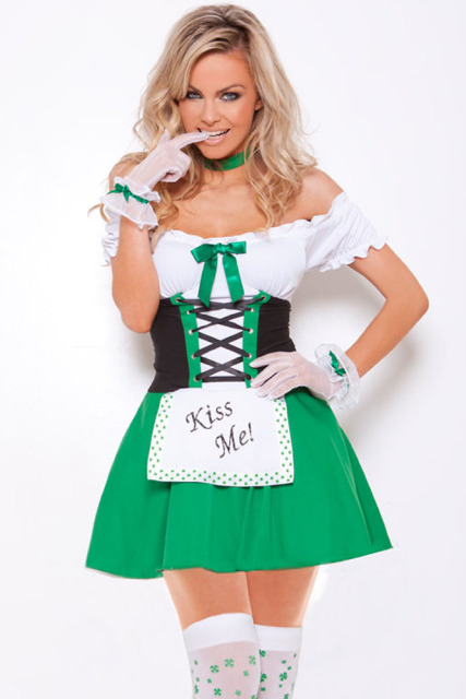 green women oktoberfest fancy dress sexy beer girl costumes lolita maid outfits cosplay halloween costumes luck - Green Halloween Dress