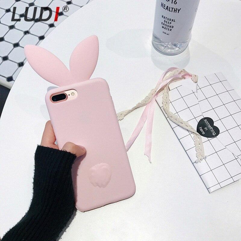 LUDI 3D Cute Rabbit Ear Case För iPhone X 8 7 plus Mjuk Silikon För - Reservdelar och tillbehör för mobiltelefoner - Foto 3
