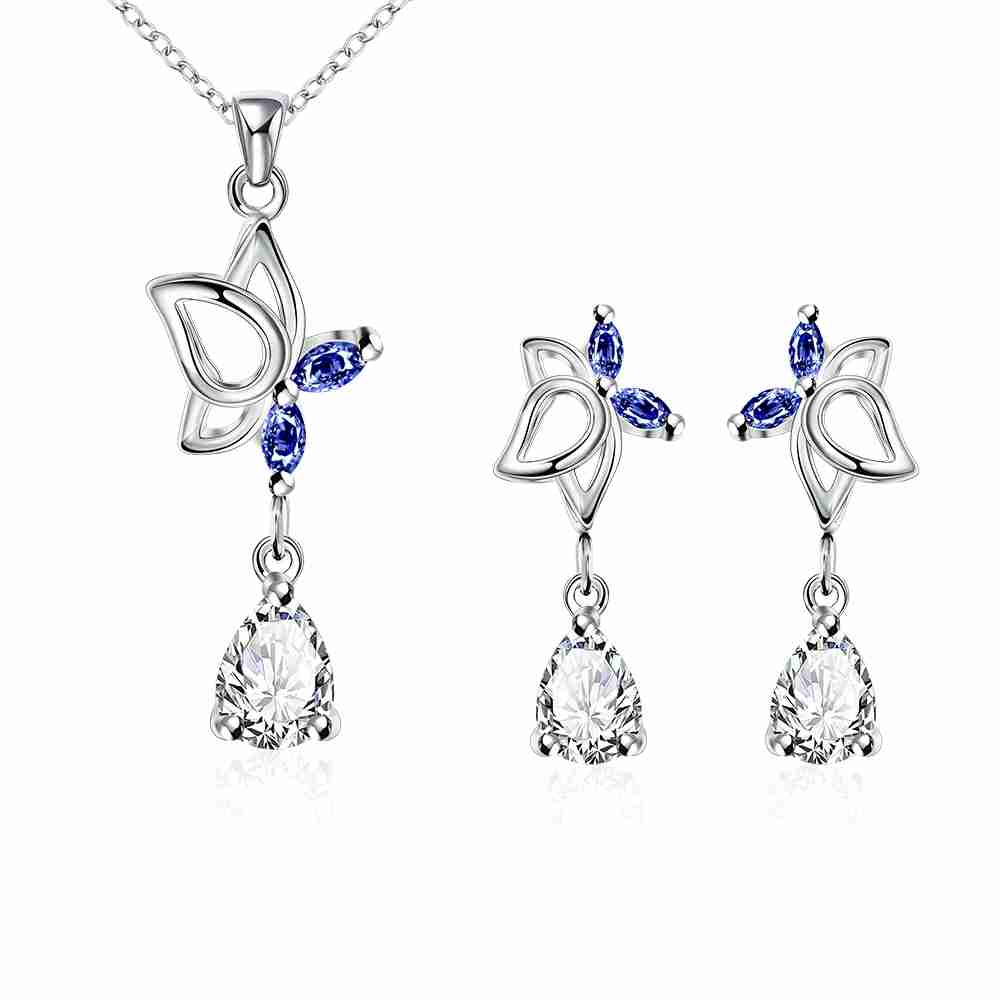 Free Shipping New Sale Silver Jewelry Set Dance Butterfly Necklace+earrings  Costume Jewellery(china