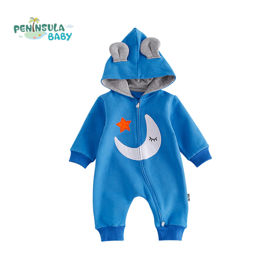 Baby Rompers Winter Zipper Warm Newborn Clothes Cotton Long Sleeve Hooded Jumpsuit Moon Star Printed Infant Costume Outerwear warm thicken baby rompers winter long sleeve organic cotton autumn
