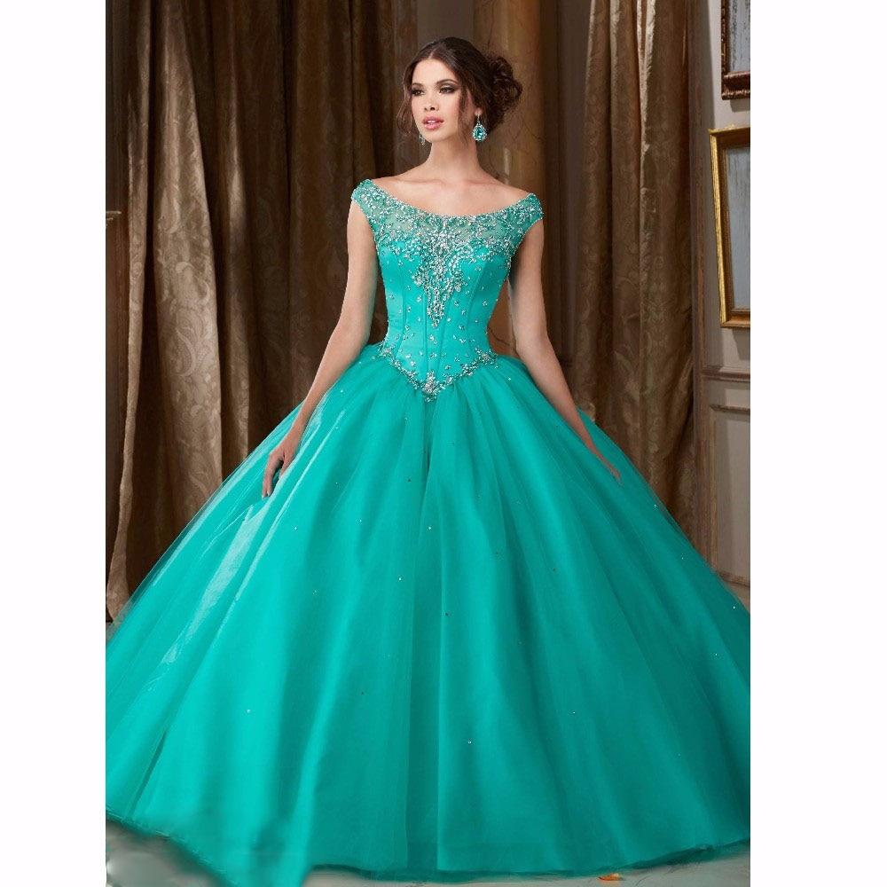Últimas balón vestido de novia abalorios de cristal de aqua verde ...