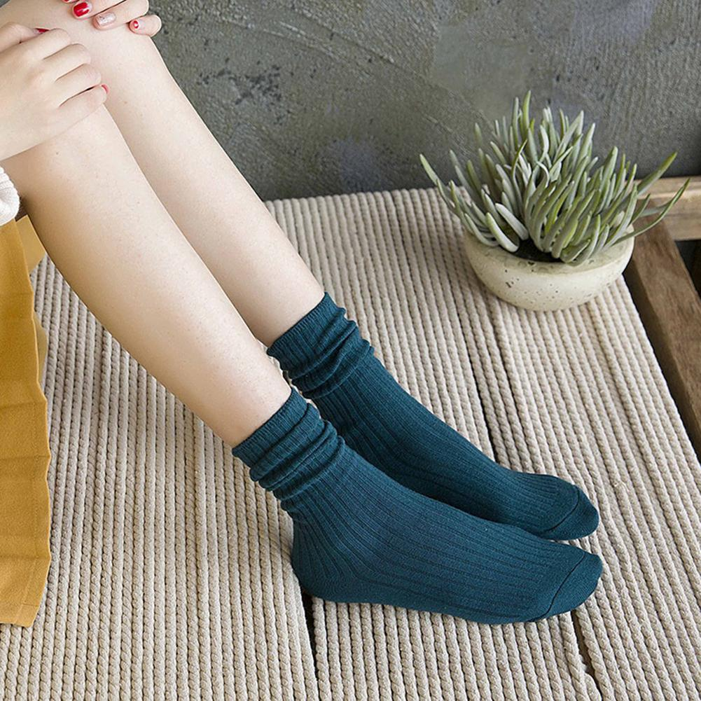 Promotion Mori Japanese Style Sock Autumn And Winter Thin Socks Solid Color Preppy Style Mid-Calf Length Socks For Women