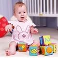 6 unids/lote Multifuncional Bebé Paño Traqueteo Suave Cubos Juego Bloques de Construcción para Niños Aprendizaje y Juguetes Educativos para Niños