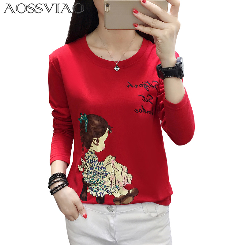 Vintage Character Printed Casual Loose Basic Fashion Street Fresh Long Sleeve Female O-neck Top Casual Style Tee M-5XL Plus Size
