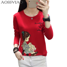 Vintage Character Printed Casual Loose Basic Fashion Street Fresh Long Sleeve Female O-neck Top Casual Style Tee M-5XL Plus Size long plus size kitten printed bell sleeve ruffle top