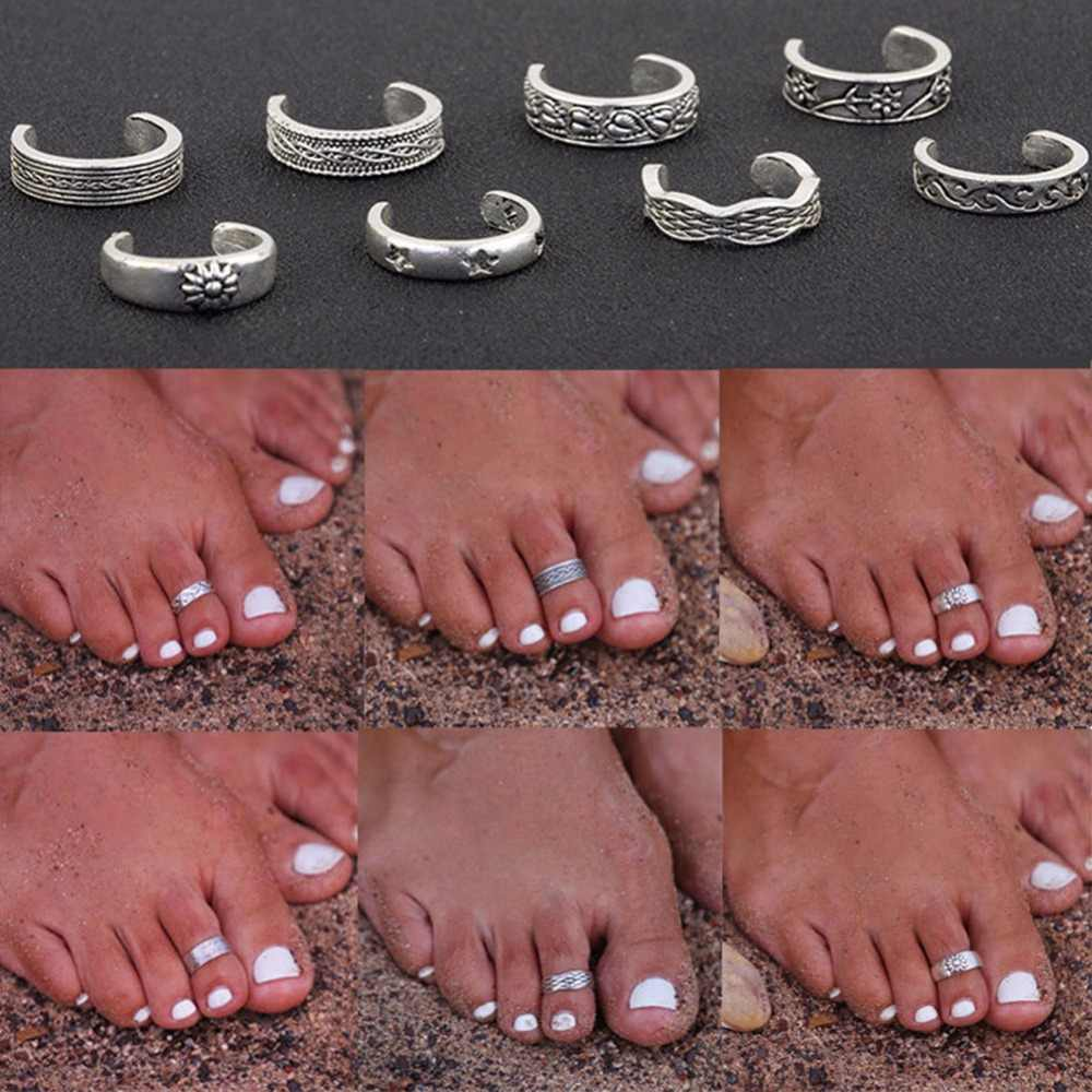 1Pcs Women Lady Unique Adjustable Opening Finger Ring Retro Carved Toe Ring Foot Beach Foot Jewelry #243219