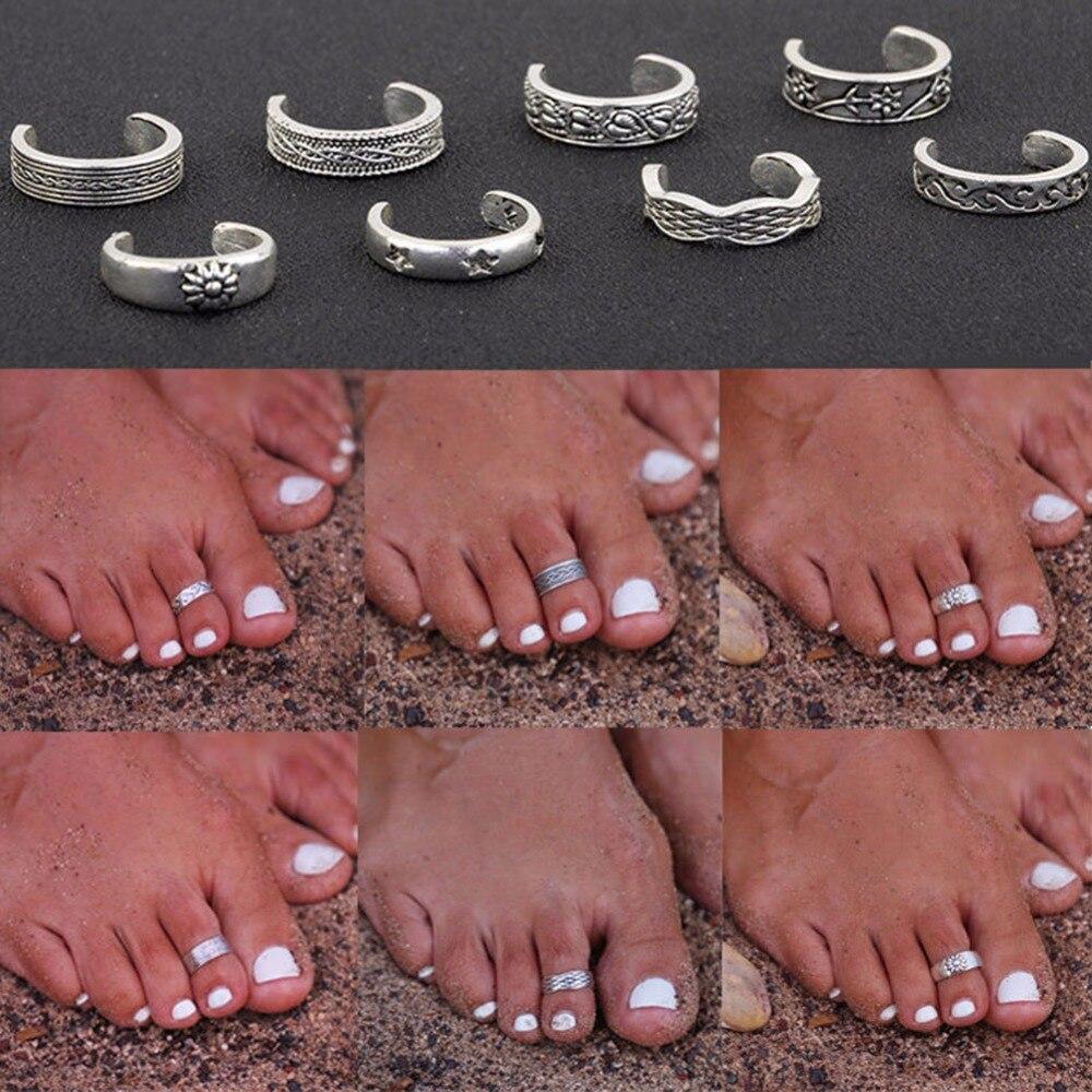 1 шт. женское уникальное регулируемое Открытое кольцо на палец в стиле ретро резная Женская бижутерия для пляжа #243219