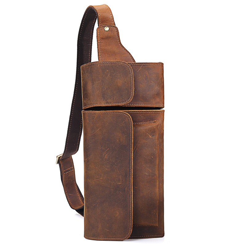 Factory Tailor made Men Genuine Leather Chest Bag High Quality Zipper Shoulder Bags Business Messenger Bags