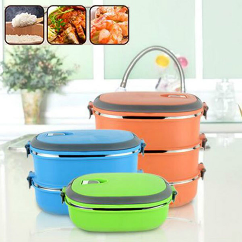 2017 New Stainless Steel Multilayer Insulation Thermal Lunch Bento Box Picnic food Container for Kids Picnic Handle For Kids