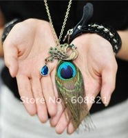 Fashion Peacock Feather Necklaces For Women Jewelry Pendants Charms N104 B1.6 ABC