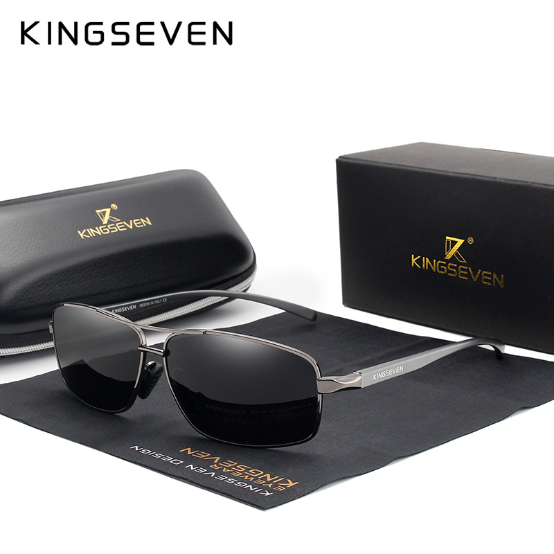 KINGSEVEN Vintage Retro Del Progettista di Marca Degli Uomini Occhiali Da Sole Polarizzati Piazza Degli Uomini Classici Shades occhiali da Sole UV400 N7088