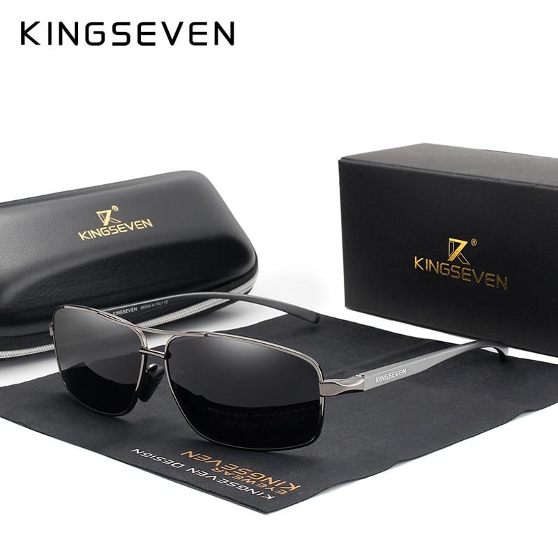 KINGSEVEN Vintage Retro Brand Designer Men Polarized Sunglasses Square Classic Men Shades Sun glasses UV400 N7088|Men