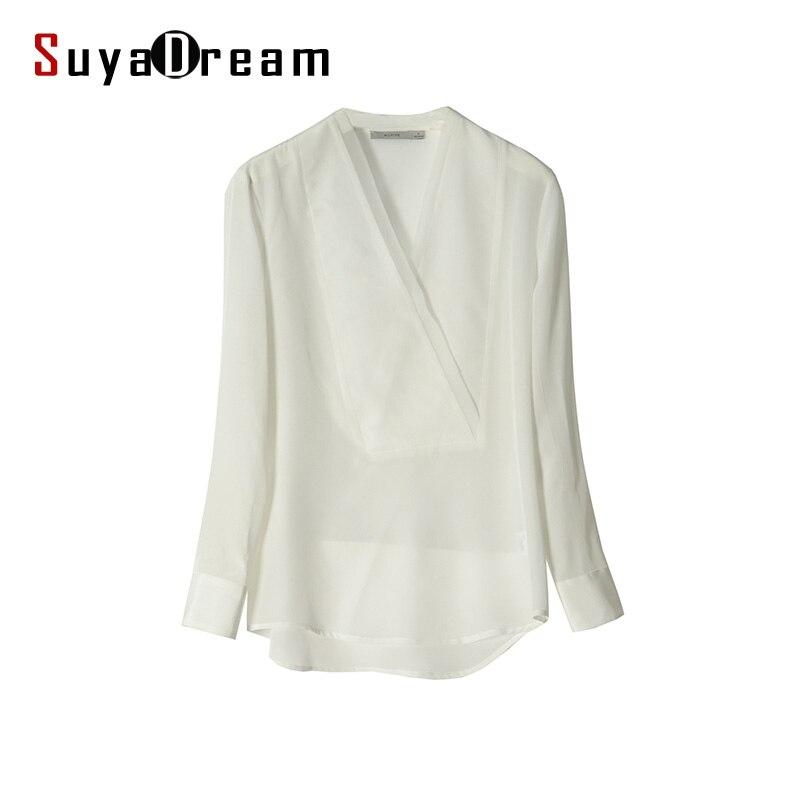 100 REAL SILK Women Blouse V neck long sleeve Solid White chiffon shirt Blusas femininas 2017