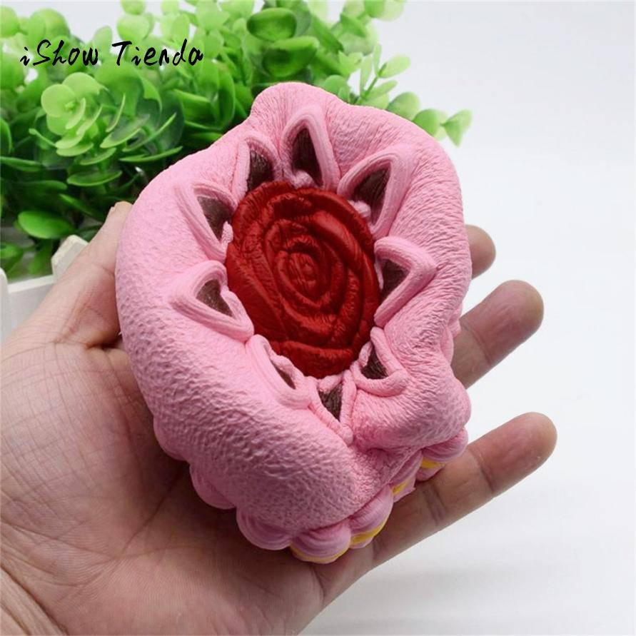 ISHOWTIENDA mochi squishy Rose Cake Squeeze toy Slow Rising stress reliever funny toys squash prank toys interesting antistress