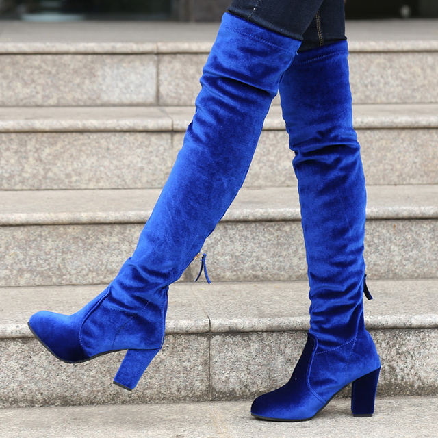 427a23e1d55b Square High Heels Slim Boots Female Over The Knee Boots Women Motorcycle  Boot Plus Size Women s