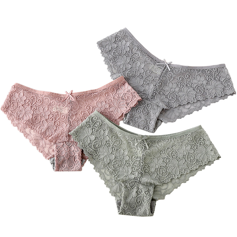 HOT SALE 7 Solid Colors Underwear Women Panties Sexy Lace Fashionable Pretty Cute Briefs Waist for