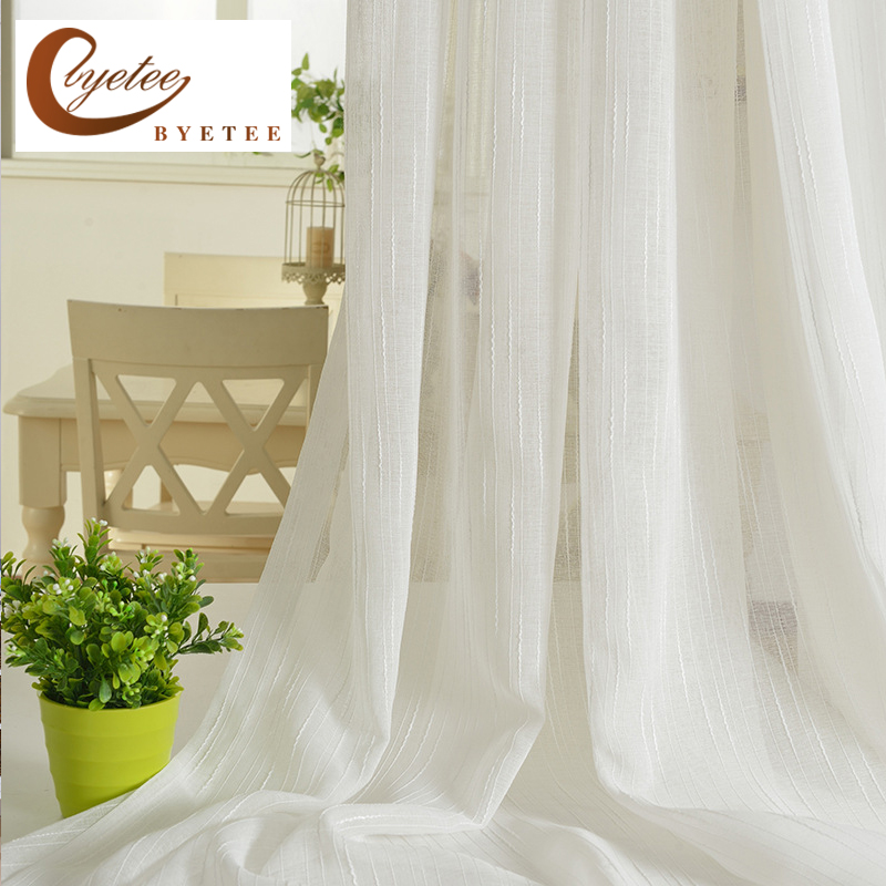Linen Stripe Kitchen Curtains: [byetee] Linen Stripe White Gauze Curtain Bedroom Living