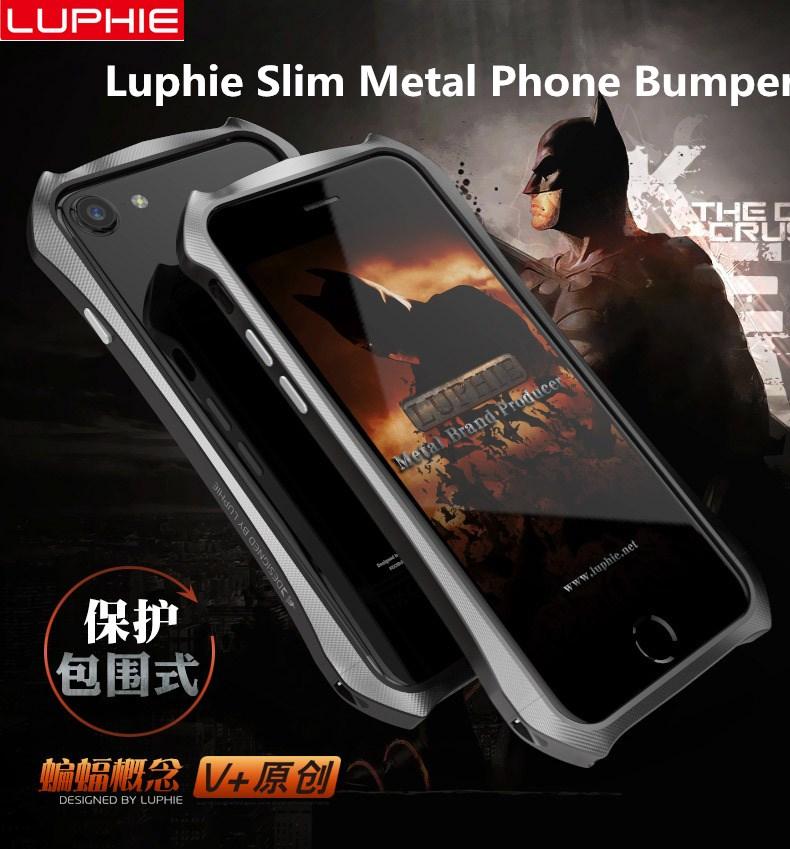 Nova Para o iphone 7 7 Plus telefone Luphie De Metal fino Bumper Case para iphone 5 6 6 s 6 Além De Alumínio quadro Bumper Capa