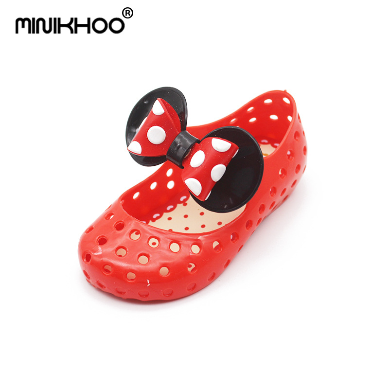 Mini Melissa Mickey Bow Cute Jelly Sandals 2018 New Girls Beach Sandals Jelly Shoes Princess Shoes Non-slip Toddler Sandals