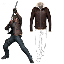 Resident Evil Scott Leather Jacket Men Biker Fleece Winter Faux Suede Jackets