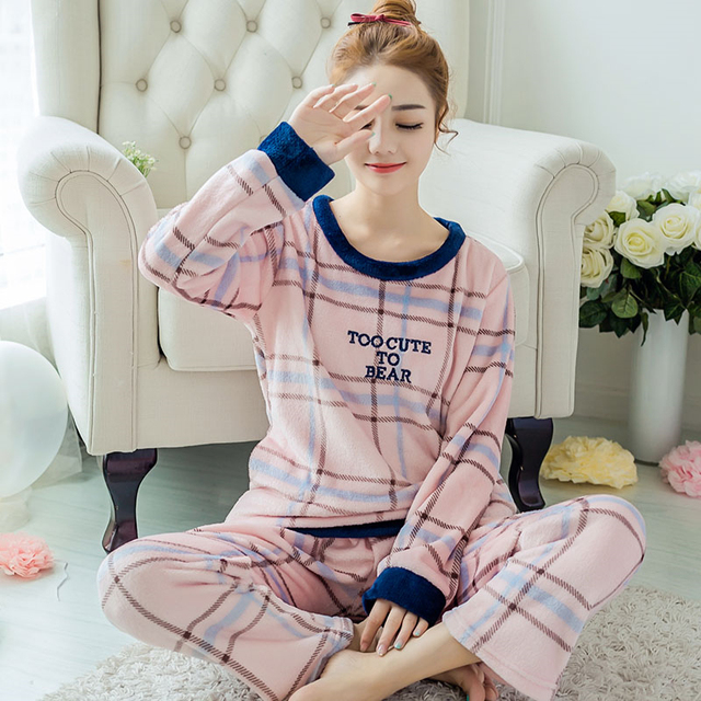 Sorriso Plus Size Conjuntos de Pijama de Flanela Rosa Tira Sleepwear Pijama de Inverno Quente Pijama Definido Para Mulheres & Meninas Homewear