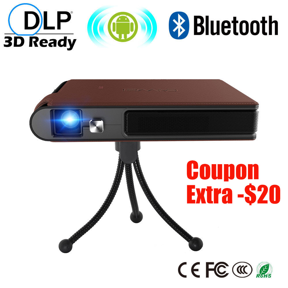 CAIWEI Mini DLP LED Projector Android WIFI Bluetooth Beamer Portable Home Theater Proyector 3D Display HD 1080P Video Movie poner saund dlp 800w mini projector wifi android projector dlp projector home theater projector dlp 800w proyector led beamer