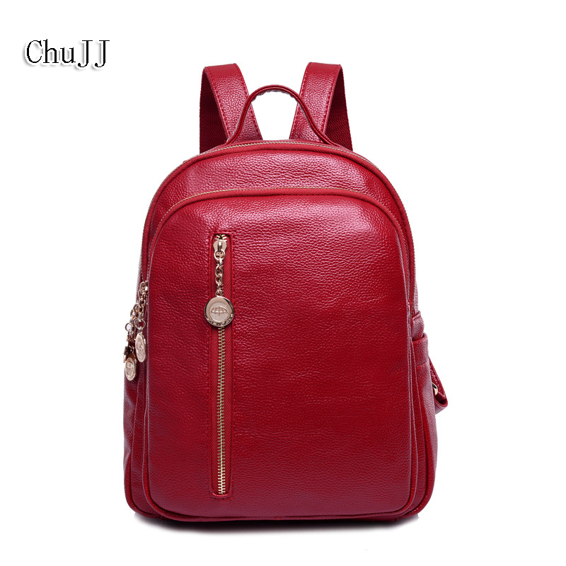 Fashion Womens Genuine Leather Backpacks Women Girls Students School Bag Shoulder Bags Women Casual Back Packs Travel Bag