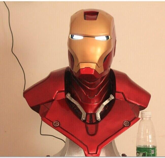 Железный человек Шлем освещение (в натуральную величину) 1:1 большая статуя грудь маска Тони Старк Коллекционная Делюкс светодиодный глаз