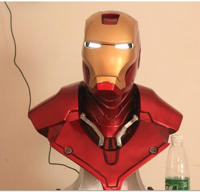 Iron Man Helmet Lighting (LIFE SIZE) 1:1 BIG Statue Chest Mask Tony Stark Collectible Deluxe LED Eye