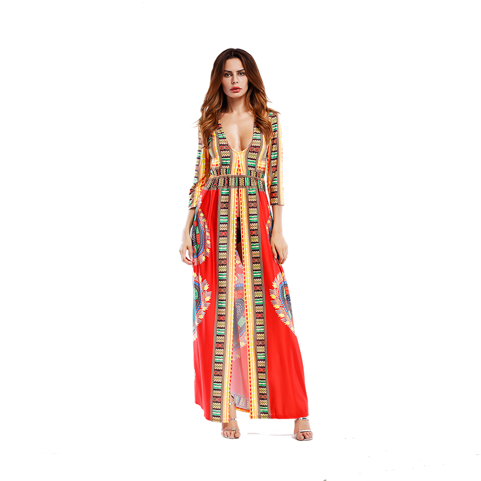 a5ad12f7e5eef US $23.99 |2XL Sexy High Hem Holiday Maxi Hippe Dresse 2017 Three Quarter  Gypsy Totem Floral Print Vestidos Female Vintage Folkolre Dress-in Dresses  ...