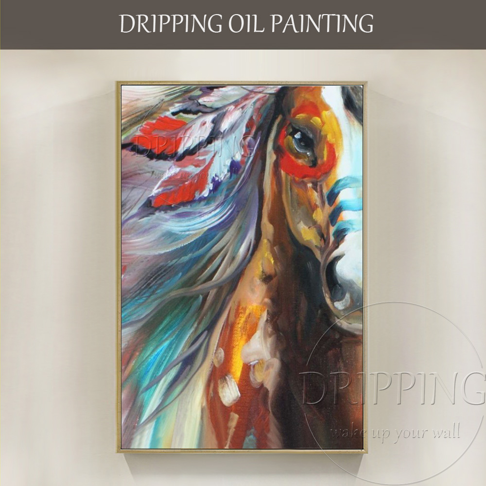 Us 33 95 50 Off Wall Art Hand Painted Modern Colorful Animal Horse Oil Painting Vivid Colors Abstract Animal Indian Horse Head Oil Painting In