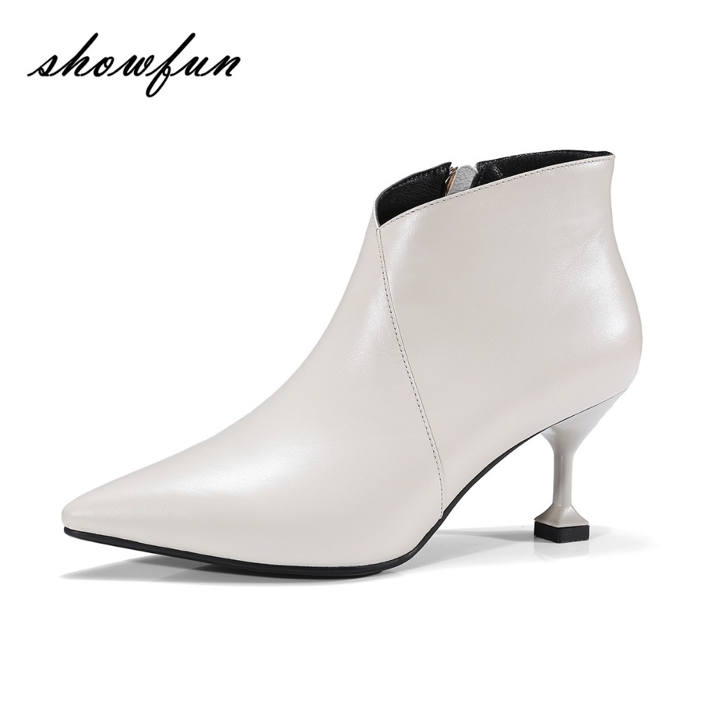 Womens Genuine Leather 7cm Thin High Heel Pointed Toe Autumn Ankle Boots Brand Designer Elegant Ladies Short Booties Shoes Sale